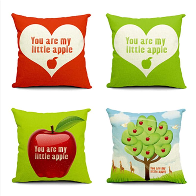 Cartoon Style New Home Decor Sofa Throw Pillow Fashion Cushion Square Heart Apple Printed Cojines Cotton Linen Almofadas(China (Mainland))