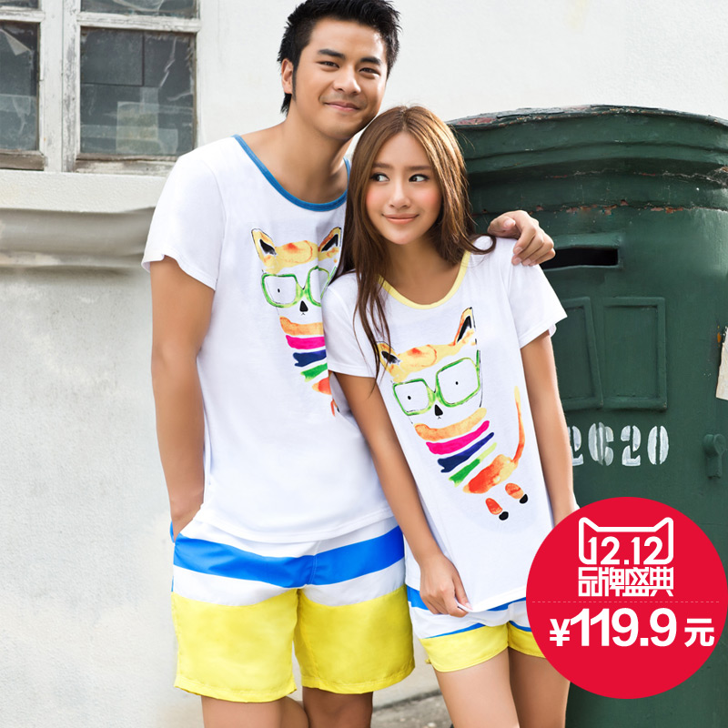 Summer song Riel couple cartoon short sleeve pajamas comfortable tracksuit suits men and women outer wear
