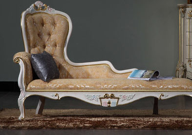 2015 Feipa Home European Elegance Royal Bed French Court Carved Wood Painted Lazy Lounger Chaise Longue(China (Mainland))