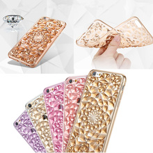 Crystal 3D Flower Pattern Transparent Diamond Protective Shell Mobile Phone Anti-knock TPU Case For iPhone 7 7 plus O35