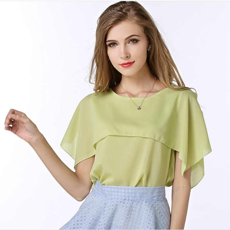 Summer Women Casual Split Joint Blusas Solid Color Chiffon Round Neck Loose White Shirt Tops Falbala Clothes Plus Size(China (Mainland))