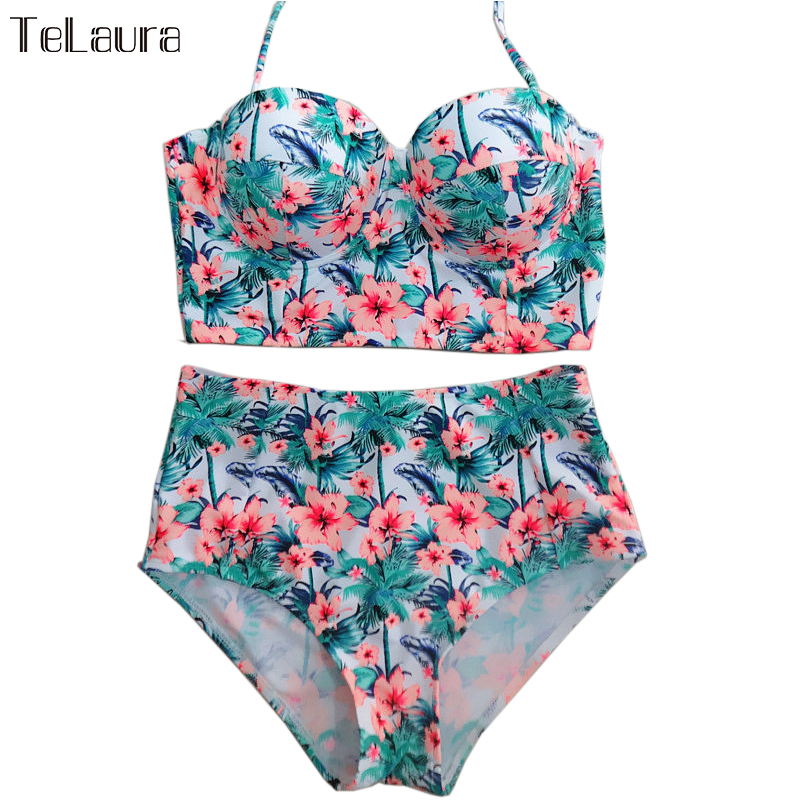 Bohemian Longline High Waist Bikini Set Brazil Floral Fashion Bathing Suit Push Up Korea Beach Swim Holiday Swimwear Suit S-2XL(China (Mainland))