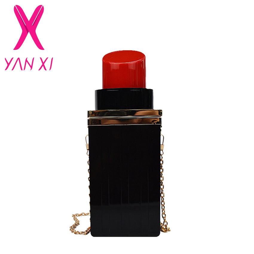 Black Acrylic Lipstick Shape 2015 New Evening Bags Purses Luxury Ladies Vintage Crystal Evening Bags Chain Women Handbag <br><br>Aliexpress