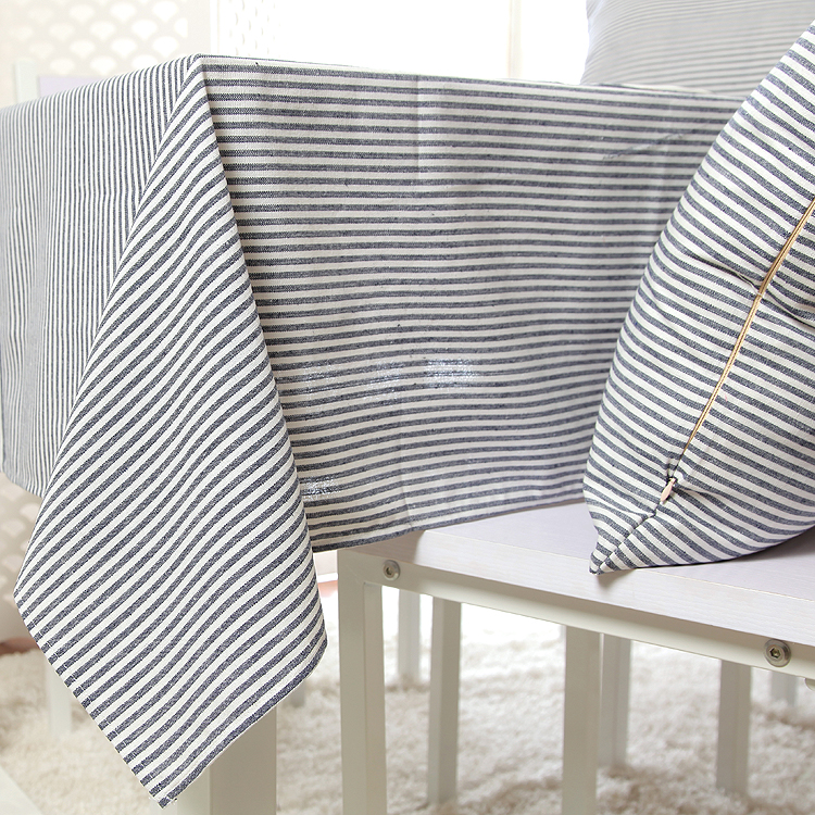 100% Cotton Zakka Style Blue Stripe Table Cloth High Quality Tablecloth Table Cover manteles para mesa Free Shipping(China (Mainland))