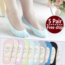 New Arrival Women Cotton Socks Female solid color candy invisible socks summer thin sweet casual slipper socks 1lot=5 pair HOT!(China (Mainland))