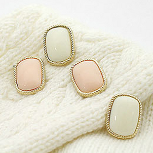 E23 Brief bordered pink rectangle stud earring (min order $10 mixed items order) jewelry wholesale<br><br>Aliexpress