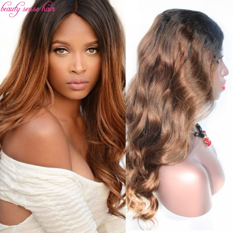 Middle part two tone color #1b#6 Ombre full lace wigs Wavy 100% Unprocessed Malaysian virgin lace front hair wigs with baby hair<br><br>Aliexpress