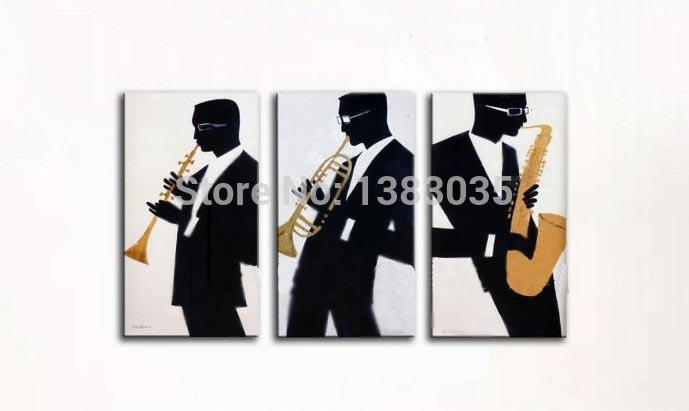 Hand Painted Musical Instruments Black Man Player Oil Painting Modern Abstract 3 Panel Canvas Art Wall Decoration Picture Set - Good-Better-Best store