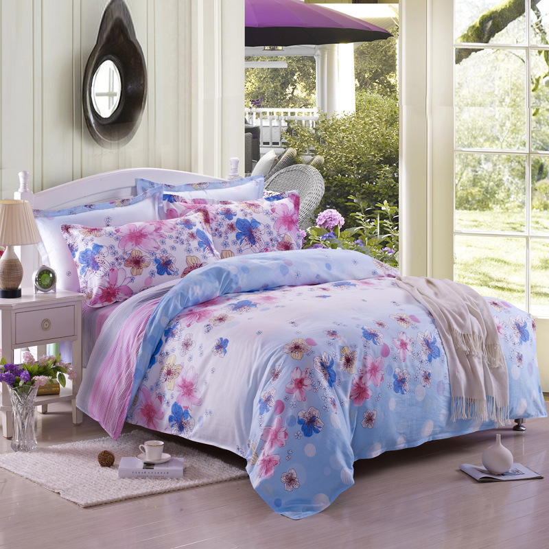 Pastoral style high quality cotton floral romantic - Blue and pink floral bedding ...