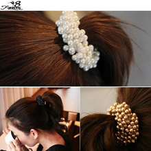 3 Colors Pop Hair Accessories Elastic Fashion Women Pearls Beads Hair Band Rope Scrunchie Ponytail Holder 1 PCS(China (Mainland))