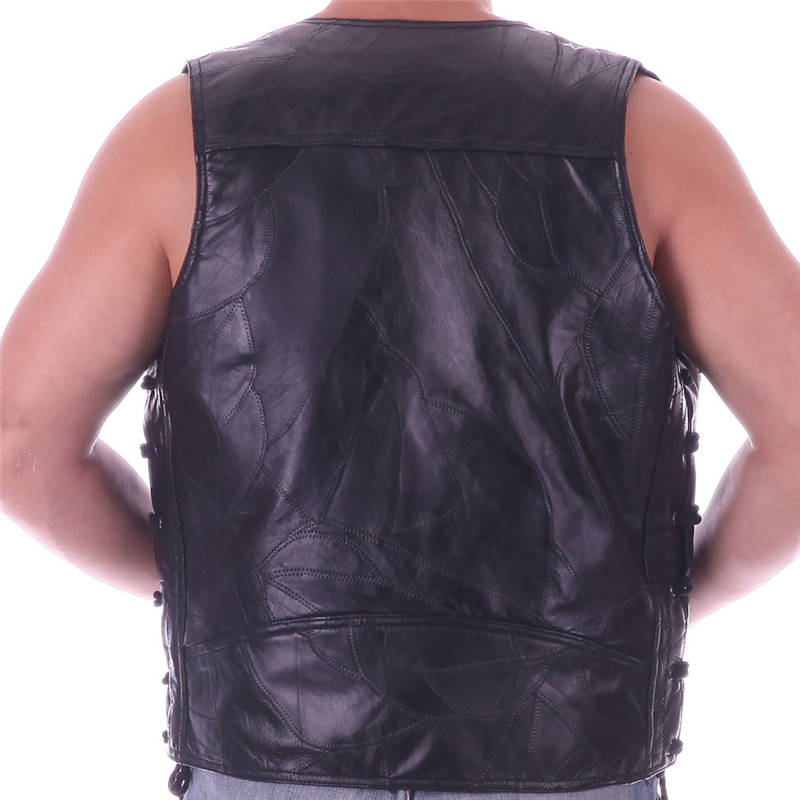 Vest Leather Men Embroidery Waistcoat Halley Motorcycle Riding Punk Hip hop Sheep skin Wind proof warmth retention Ventilation*(China (Mainland))