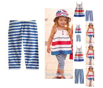 2015 free shipping Kids Baby Girls Skirt+ Pants 2 Pcs Set Blue Striped Straps Outfits Clothes