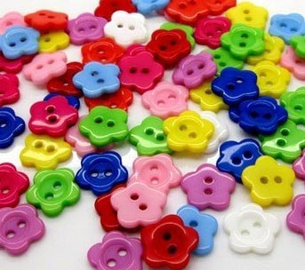 Free shipping 50pcs mix color 15mm plastic round flower shape buttons for craft sewing children clothing(China (Mainland))