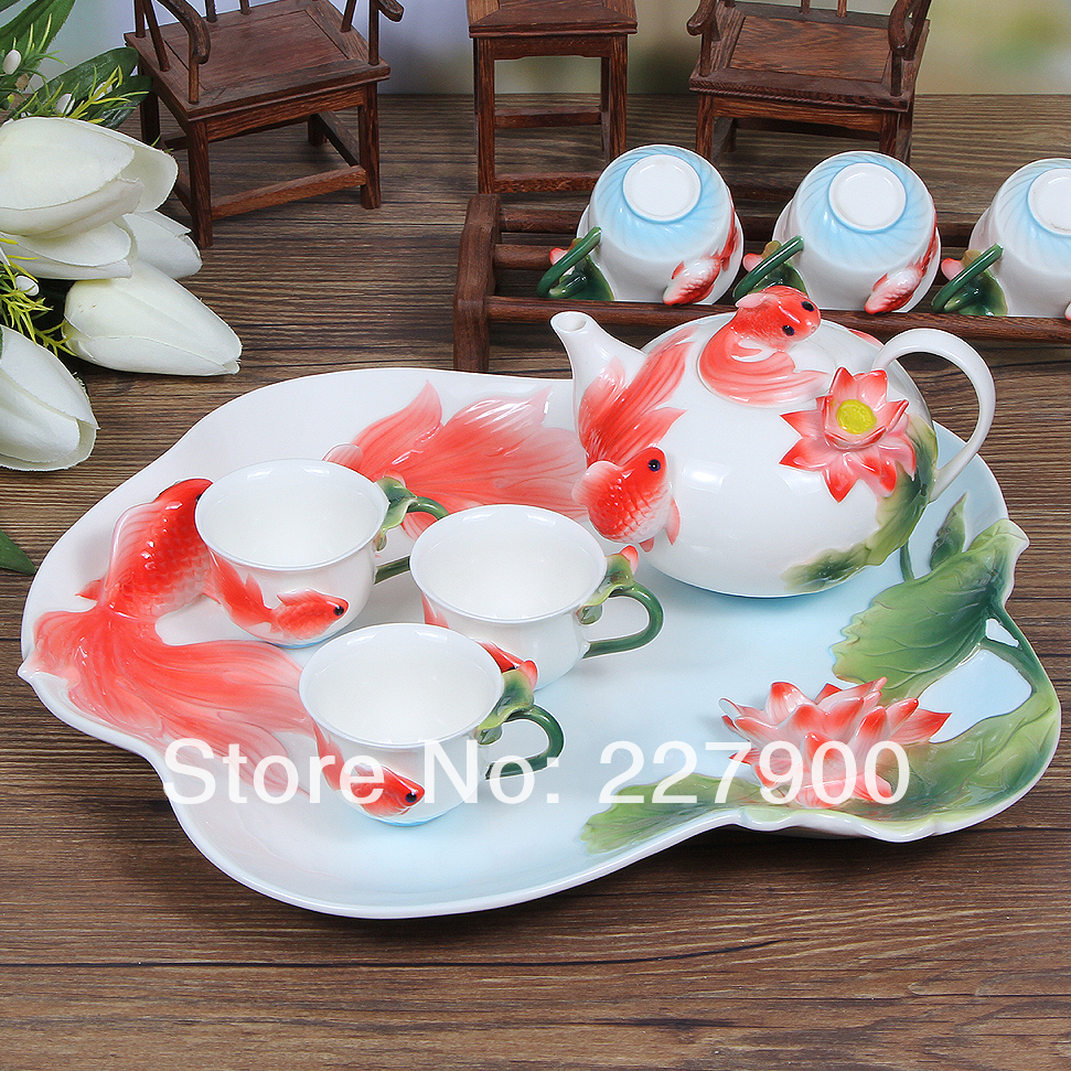 Creative Enamel Painted Red Fish Fashion Ceramic Tea Set Tea Service Coffee Set With Tea Tray