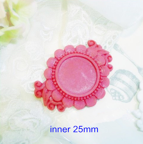25 Red Setting Blank,Flat Back Resin Cameo Base Setting For Bows/Pendant,Flower Border Resin Base Setting Tray 25mm inner round(China (Mainland))