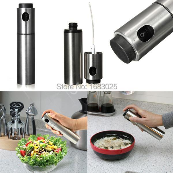 Argento in acciaio inox pompa di spruzzatura bottiglia di olio di oliva spruzzatore può olio jar pot strumento può pentola pentole utensili da cucina(China (Mainland))