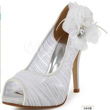 Free Shipping High Quality Elegant Satin Stiletto Heel Pumps with Rhinestone and Flower Wedding Shoes More