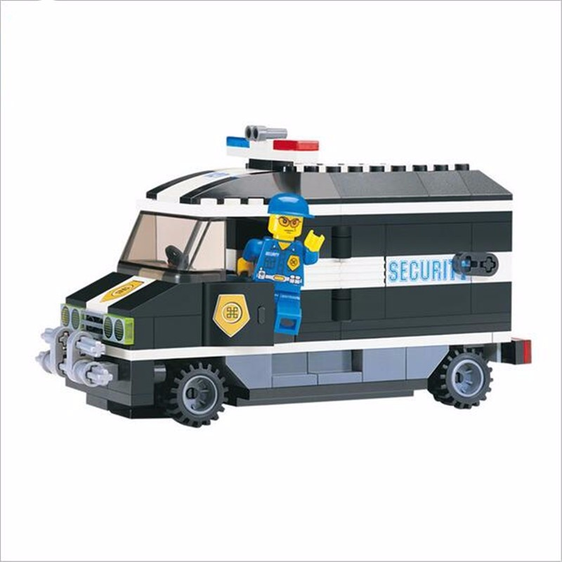 Children' Favourite!! Police Truck 325pcs/set DIY Constructing Blocks Toy Kids Instructional Puzzle Toy Children Birthday Presents