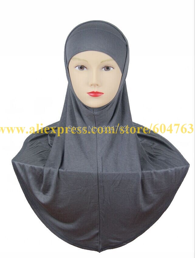 HT014 One BAG 10pcs white,black or mix colors SOLID COLOR PLAIN Softy cotton TWO piece muslim hijab,2 piece HIJAB(China (Mainland))