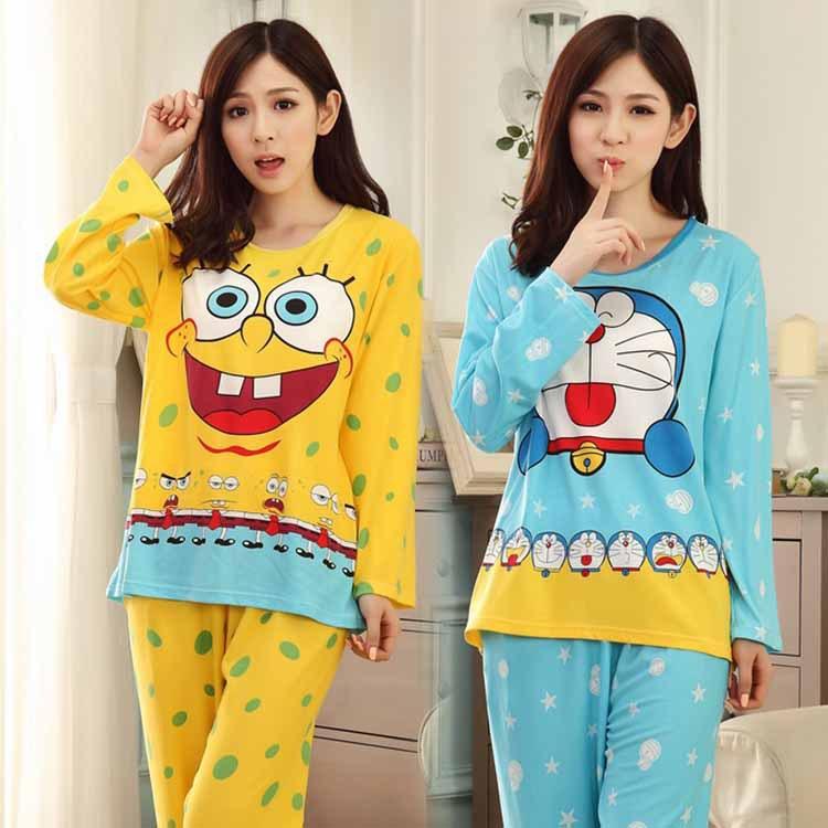 Hot Sale!Spring Women Pajamas Set Soft Cartoon Spongebob Ladies Pijamas Sweet Female Woman 2pieces Nightwear Pyjamas(China (Mainland))