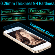 10pcs/lot For iPhone5g/5c/5s Best Tempered Glass 0.26mm 9H Hard High Transparent Screen Protector Free Shipping