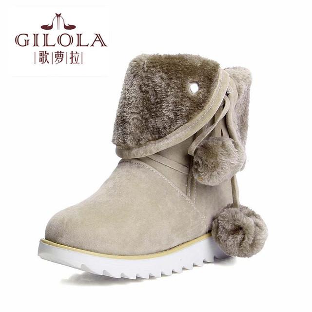 size 34-43 2016 fashion women's fur warm ankle platform heels shoes woman women boots snow autumn winter boots best #Y1077806F
