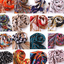 155 43cm New 2015 Spring Vintage Chiffon Scarves 63 Patterns Women Casual Print Lovely Bohemian Scarf