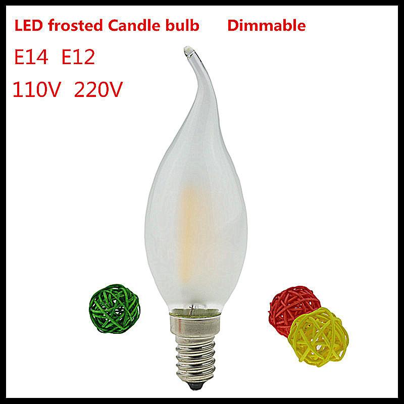 6X led candle bulb E14 E12 2w 4w 6w dimmable tip retro LED Filament light ampoule LED light Bulbs E14 candle lamps 110V 220VAC