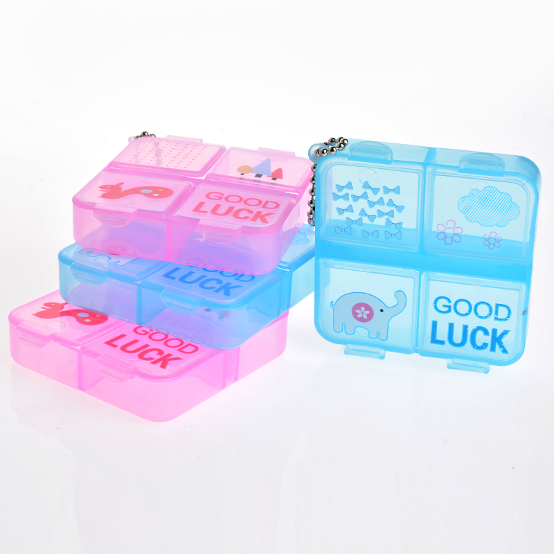 2 Pieces/Lot Portable Mini Cute Plastic Pill Box Medicine Case For Healthy Care Empty Drugs Box With Multilayer(China (Mainland))
