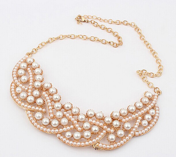 New 2015 Hot Pendant Necklace Women Simulated Pearl Jewelry Trends Statement Collar Necklaces Pearl Pendants For Gift Party(China (Mainland))