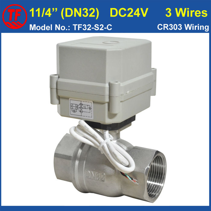 "Фотография 11/4"" DC24V 3 wires motorized water valve SS304 for water treatment drinking water systems"