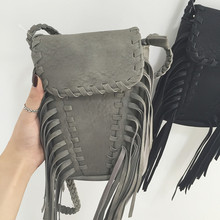 New 2016 Summer Boho style suede leather mini tassel bag fringe shoulder bags small crossbody bags for women(China (Mainland))