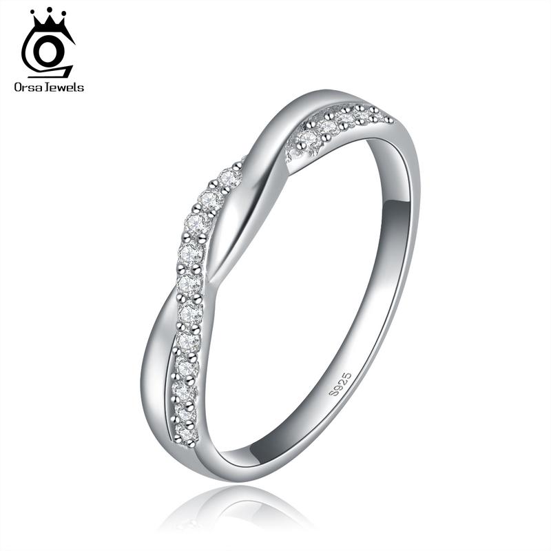 Гаджет  ORSA New Arrival 925 Silver Infinity Ring with Shiny Austrian Zircon Crystal OR44 None Ювелирные изделия и часы