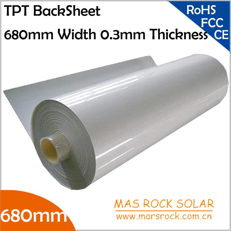 100meter/Lot Wholesale Solar Panel Back Sheet, 680mm Width 0.3mm Thickness, TPT Solar Module Encapsulation Film, 680mm Solar TPT(China (Mainland))