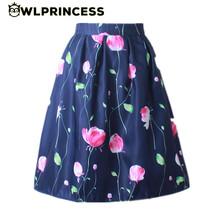 Owlprincess 2016 Retro Women's Skirt Elastic High Waist Pleated Black Blue Floral Print Midi Skirt Vintage Knee Length Ball Gown