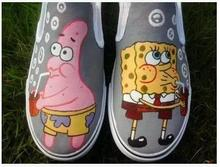 Chaussure FemmeZapatillas Deportivas Yeezy Shoes Hand-Painted SpongeBob Women and Men Shoes Beauty Shoes for Adults(China (Mainland))