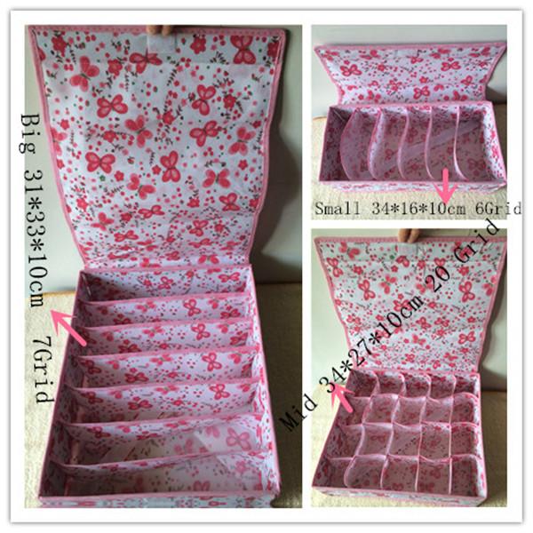 Set3 Various Grid Pattern Fashion Convenient Folding Storage Box Gu Bag Makeup Storage Bra Underwear Necktie Sock Organizer(China (Mainland))