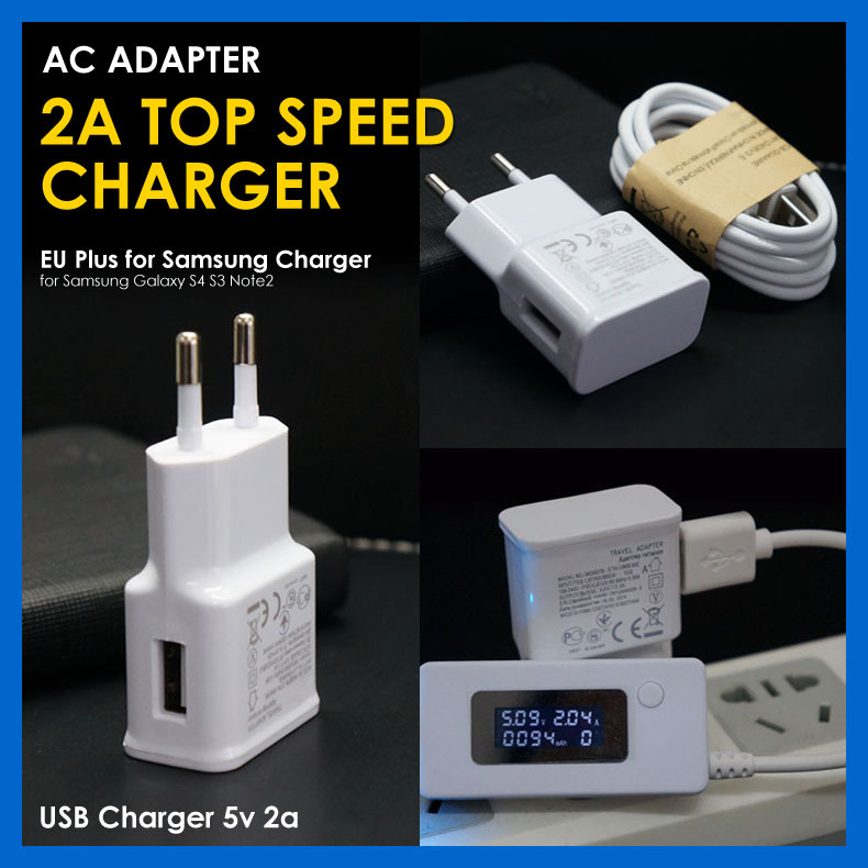 EU Plug USB Ports real 2A Travel Wall AC Power Charger Adapter + Date Sync Charging Cable Samsung galaxy S4 Note 2 - Dream Digital Accessories Store store