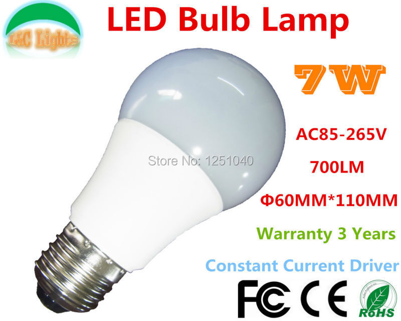 Free Shipping! AC85-265V E27 PMMC shade 7W LED Bulbs,LED Home Lighting,LED Lamps Warranty 3 Years,WW/NW/CW,12PCs a lot(China (Mainland))