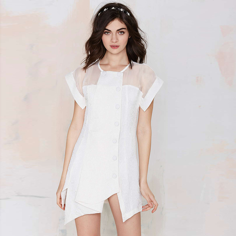product New Style 2015 Summer Fashion Women Dresses White Round Neck vestido informal Dress Casual Irregular Dress Free ship Y0318-79D