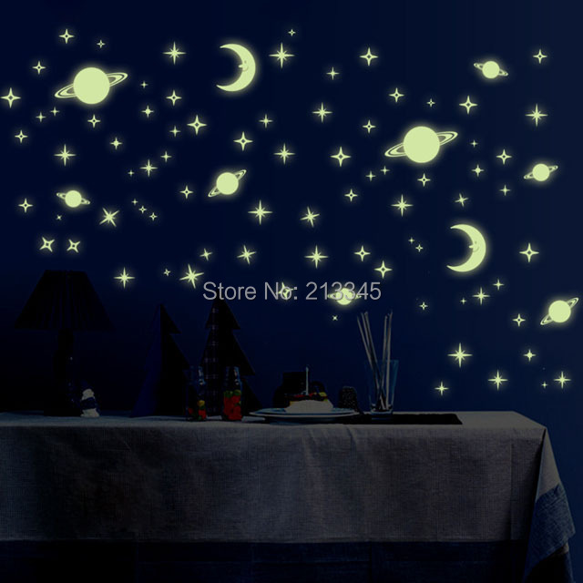 glow in the dark wall sticker star universe children bedroom baby room
