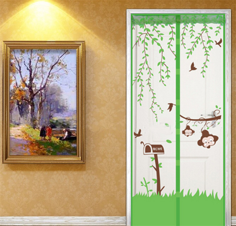Magnets Mesh Prevent Mosquito Chinese Door Curtains Green for Kitchen