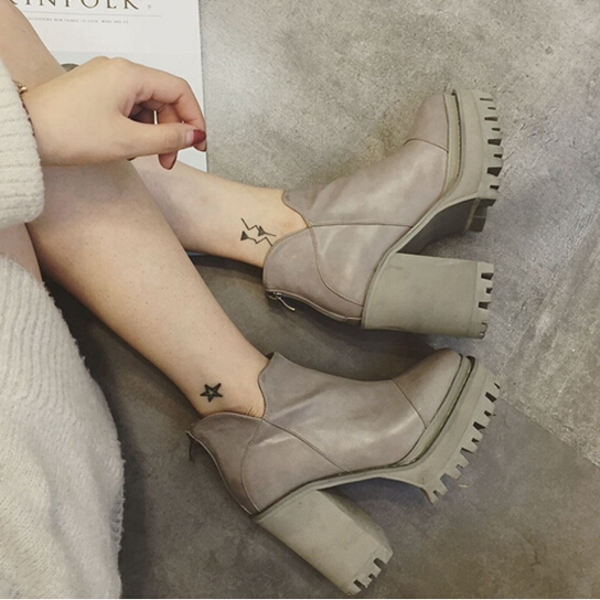 2015 Autumn Women Boots Thick Square Heel High Heels Ankle Boots Vintage Platform Short Boots Winter Shoes Woman Martin Boots