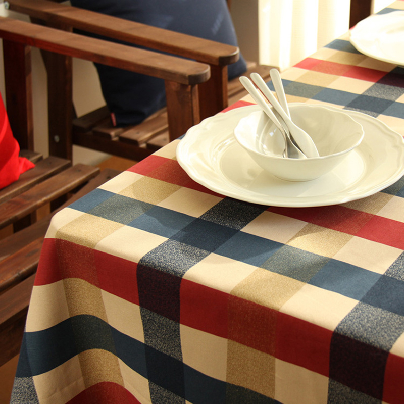 New Arrival Cotton Plaid Printed Crochet Tablecloth Rectangular Round Manteles Dustproof Wedding Dinning Table Cloth Cover(China (Mainland))