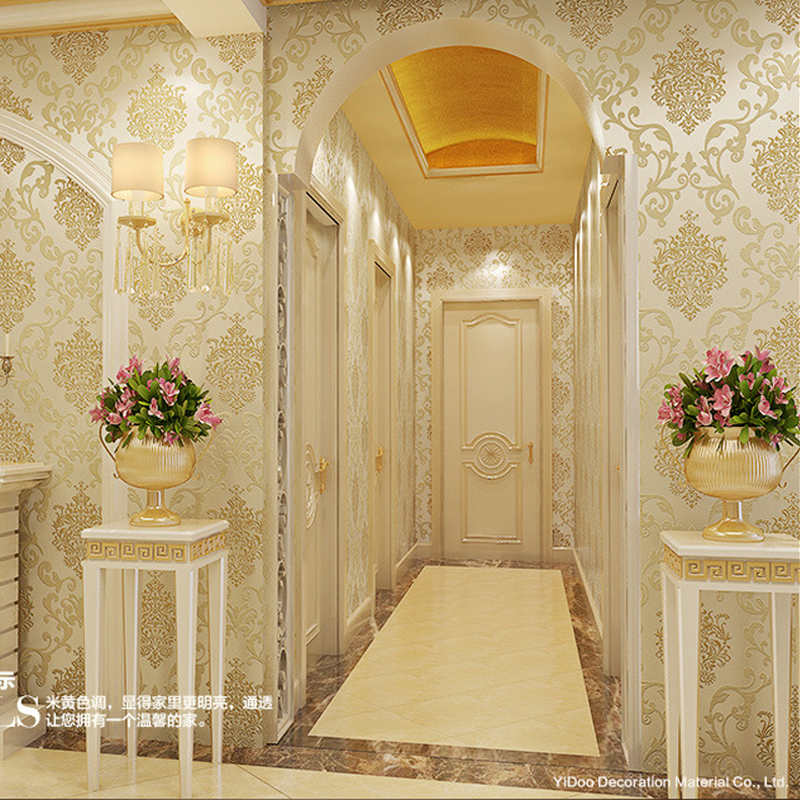 Buy non woven damask wall paper roll for Luxury 3d wallpaper