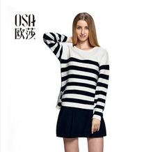 OSA 2014 New Autumn Fashion Women Sweater O-neck Long Sleeve Striped Casual Pullovers Minimalist Knitted Sweater  SE408002(China (Mainland))