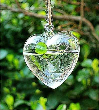 2pcs/lot Love Heart Shape Hanging Clear Glass Vase 110x100x55mm, Garden Flower Vase free shipping vase(China (Mainland))