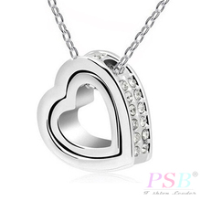 Silver Plated Austrian Crystal Design Brand Male Heart Pendant Chain Necklace Fashion Jewelry For Women