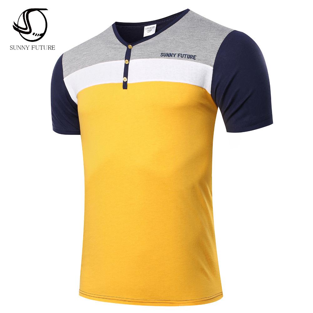Summer short sleeve Cotton Men's T-Shirt SUNNY FUTURE brand swag men t shirts fashion 2016 high quality Patchwork Men's clothing(China (Mainland))