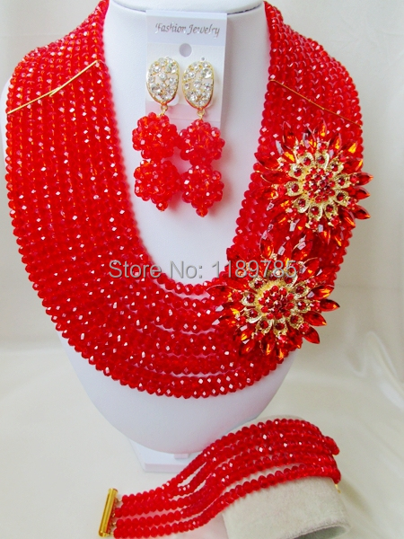 Fashion Nigerian African Wedding Beads Jewelry Set , Red Crystal Necklace Bracelet Earrings Set A-7858<br><br>Aliexpress